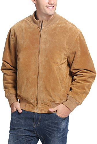 Suede Men Jackets (Landing Leathers Men's WWII Suede Leather Tanker Jacket - Tobacco Tall LT)