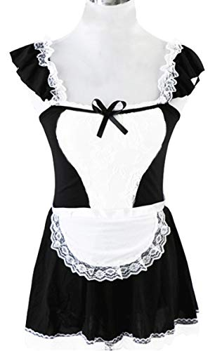 QinMi Lover Womens French Maid Outfit Dress Aprons Lace Outfit Sets Halloween Cleaning Service Cosplay Costume, Black White for $<!--$10.99-->