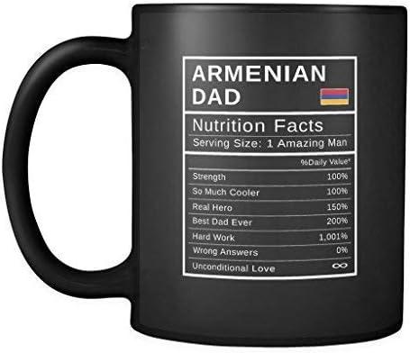 Papá armenio, información nutricional regalo del héroe del día del padre - taza de café negra divertida del orgullo armenio - herencia nacional del verdadero héroe de armenia papa - regalo de amigos -