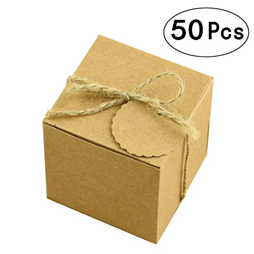 Kraft Paper Cube Favor Box Kit Candy Thank You Treat Rustic Gift Boxes Set with Twine for Wedding Favors Baby Shower Birthday Party Supplies, -