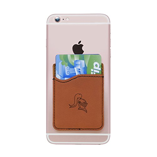Modern Goods Shop Brown Self-Adhesive Wallet with Laser Etched Knight Helmet Design - Credit Card Pocket for 3 Cards - Fits Most Smartphones ()