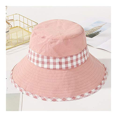 ANNEELB py Cotton Bucket Hats Beach Foldable Visor UV Caps Casual Basin Cap Pink 56 5cm]()