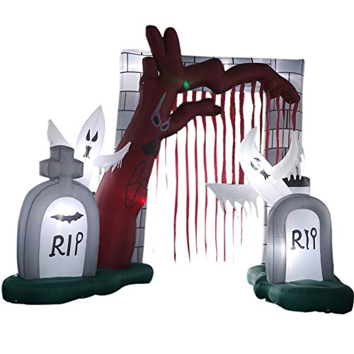 Sayok Inflatable Halloween Entrance Archway Inflatable Gravestone with Grim Reaper with Led Lights Yard Decor(16.4 x 13.1')]()