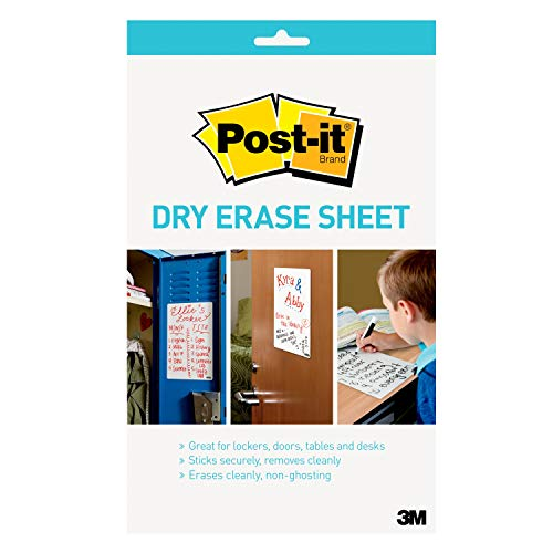 Post-it Dry Erase Whiteboard Film Sheets for Walls, Doors, Tables, Cabinets, and More, Removable, Super Sticky, Stain-Proof, Easy Installation, Dry Erase Sticker, 7 IN x 11.3 IN, 1 Sheet(DEFRETAIL) ()