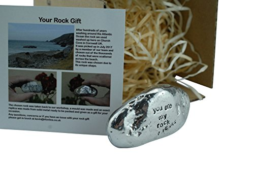 7th Anniversary You Are My Rock Gift Idea – Solid Metal Heavy Polished Rock Gift for 7 Year Anniversary Review