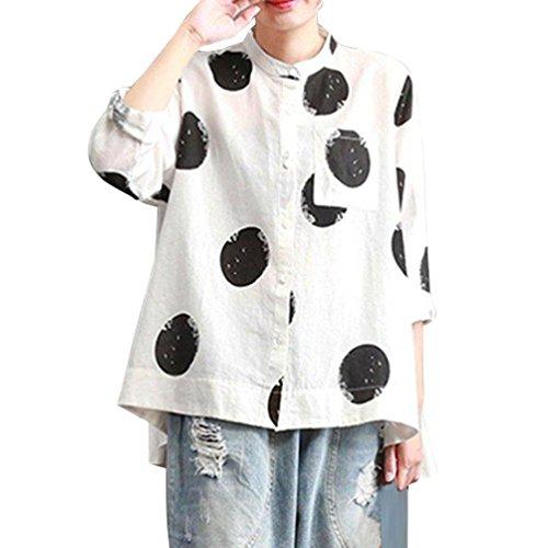 DOGZI Mujer Camiseta Mangas Largas Tallas Grandes Manga de Trompeta Volantes Lunares Blusa Elegante Noche Imprimir Botón de Bolsillo Informal Oficina Camiseta XL~5XL Blanco