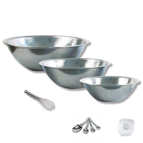 Mixing Bowls Stainless Steel 3 Pcs With 10 Inch Wire Whip Elastic Bowl Covers and Measuring Spoons. Bowl Sizes Are 1.5qt, 2qt, and 5qt Volume.