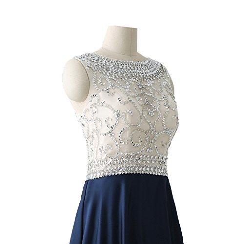 Dormencir Long Dresses Navy Women's Satin Formal Backless Evening Blue Beading PRPrqF