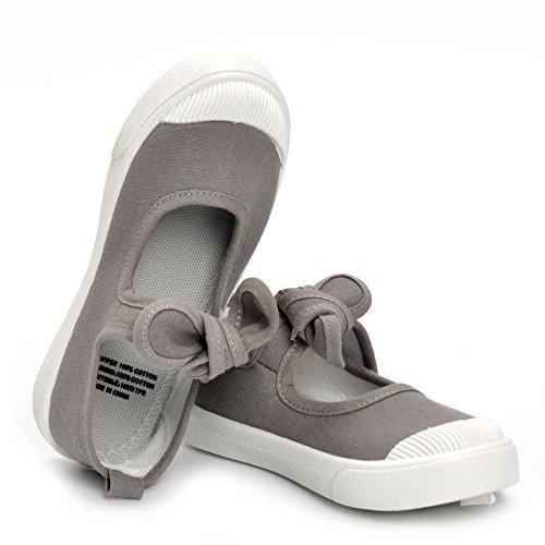 ESTAMICO Zapatillas de deporte de lona de suela de goma de los niñas Gris