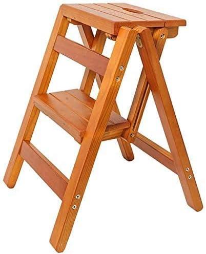 2 escalera plegable silla taburete escalera, escaleras de madera escaleras, gran jardín altura taburete 52 cm, carga máxima,Walnut: Amazon.es: Hogar