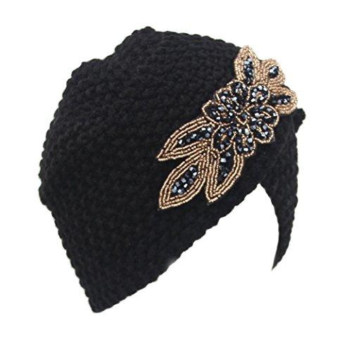 (GBSELL Fashion Womens Lady Winter Warm Knit Crochet Ski Hat Braided Turban Headdress Cap (Black))