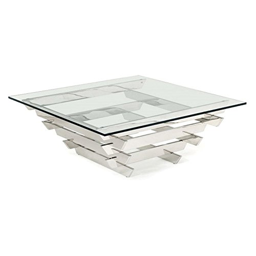 Modrest Upton Modern Square Glass Coffee Table Coffee