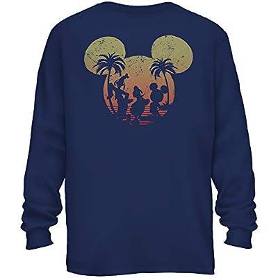 Mickey Mouse Donald Duck Goofy Sunset Disneyland Disney World Funny Men's Adult Graphic Long Sleeve Shirt
