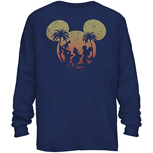 Disney Mickey Mouse Donald Duck Goofy Sunset Disneyland World Funny Men's Adult Graphic Long Sleeve Shirt (Navy, X-Large)