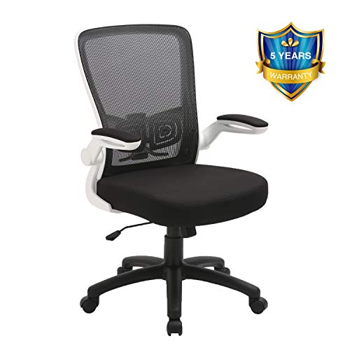 Office Chair, ZLHECTO Ergonomic Desk Chair with Adjustable Height and Lumbar Support, High Back Mesh Computer Chair with Flip up Armrests for Conference Room – 300lb Weight Capacity (White)