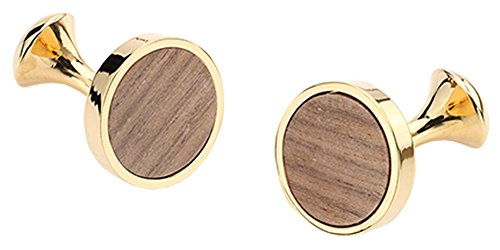 (D&L Menswear Gold Plated Wood Inlay Round Cufflinks with Black Gift Box)