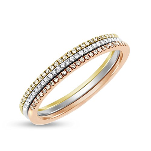 (0.15 Ct. Set of Tricolor Gold Diamond Tri-Colored Pave Rings 1mm Bands 14k Gold)