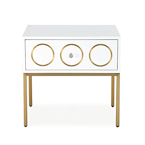 Tov Furniture The Ella Collection Modern Wooden & Stainless Steel Bedroom Side Table with Drawer, White