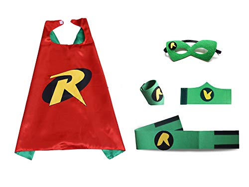 JLZK Robin Costumes for Kids Dress Up with Capes Mask Wristband Waist Belt for Girls Boys Birthday -