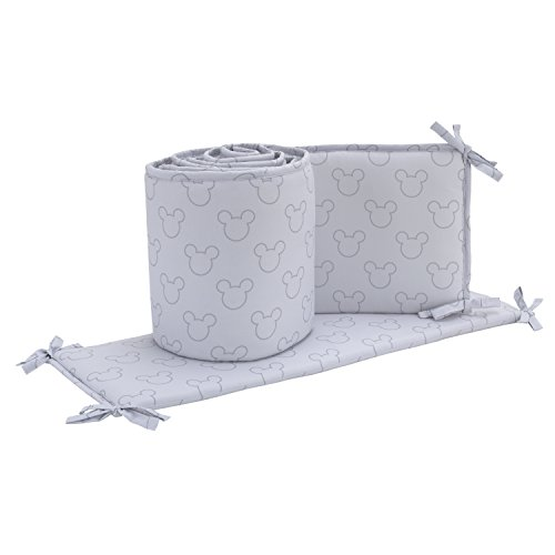 Disney Mickey Mouse Icon 4 Piece Nursery Crib Bumper, Gray, Dark Gray (Piece 4 Crib Doll)