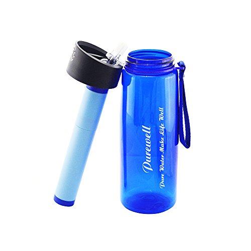 Botella de filtro de agua para exterior, botella de 23 oz de Addprime con filtro de agua 264 galones de agua para viajes,...
