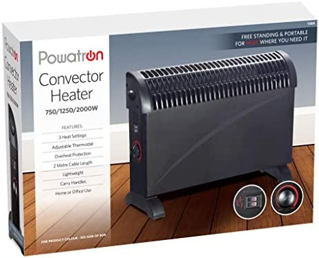 Powatron 2000w 2kw Black Convector Heater Portable Electric Thermostat
