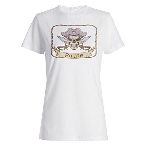 Capitán Arte Del Cráneo Del Pirata camiseta de las mujeres m937f