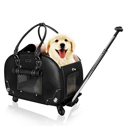 (PetsHome Dog Carrier with Wheels, Pet Carrier with Wheels, Waterproof Rolling Travel Carrier with Detachable Wheels & Mat for Dogs and Cats Medium Black)