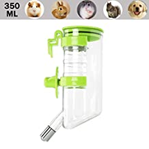 Luniquz Pet Hanging Water Bottle Dispenser Water Feeding for Rabbits,Hamsters, Guinea Pig, Puppy and Small Animals 350 ml /Green