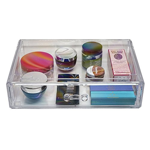 dModa Designs Crystal Clear Acrylic, Extra Wide Makeup and Jewelry Organizer with an Extra Large Storage Drawer for Lipstick, Brushes, Compacts, Nail Polish and Cosmetics