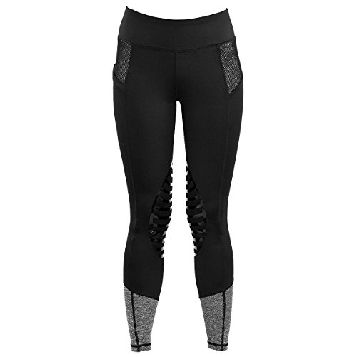 HR Farm Women's Silicone Tights Horse Riding Gel Grip Pull On Leggings with Pocket (Black, ()