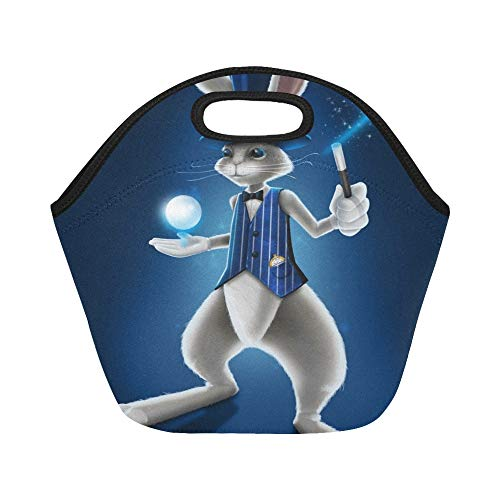 Insulated Neoprene Lunch Bag Magician Rabbit Holding Crystal Ball Waving Large Size Reusable Thermal Thick Lunch Tote Bags For Lunch Boxes For Outdoors,work, Office, School