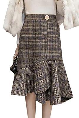 Fubotevic Womens High Waisted Plaid Fall & Winter Woollen Blend Work OL Midi Fishtail Skirt