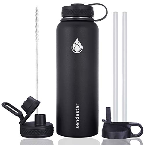 Sendestar 32 oz or 40 oz Double Wall Vacuum Insulated Leak Proof Stainless Steel Sports Water Bottle —Wide Mouth with Straw Lid & Flex Cap & Spout Lid