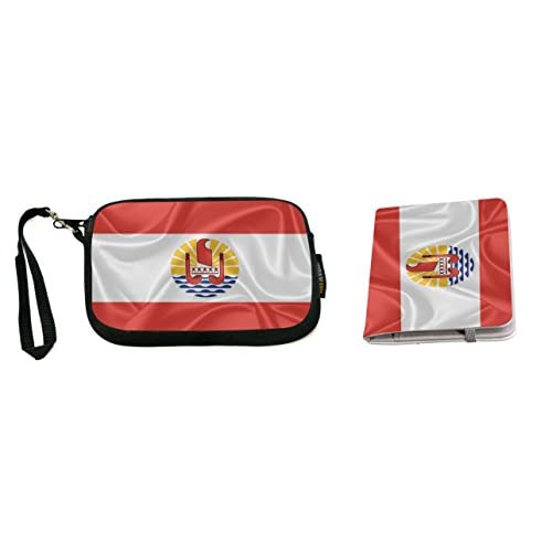 Rikki Knight French Polynesia Flag Design Neoprene Clutch Wristlet with Matching Passport Holder