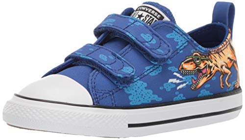 Converse Baby Infant Chuck Taylor All Star 2V Dinoverse Low Top Sneaker, Blue/Black/White, 6 M US Toddler