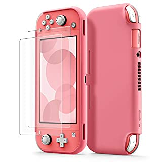 Protective Case for Nintendo Switch Lite, tomtoc Grip Cover with [2PCS] Screen Protector, Premium Liquid Silicone Hard Shell, Shock-Absorption and Anti-Scratch for Switch Lite Console 2019, Coral