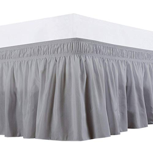 Rajlinen Wrap Around Bed Skirt -Polyester/Microfiber Elastic Dust Ruffle Three Fabric Sides Silky Soft & Wrinkle Free Classic Stylish Look in Your Bedroom (Light Grey, King /18)