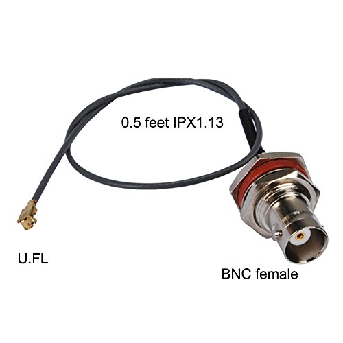 Pc-case 0.5ft Rf Electrical Wire Coaxial Cable Connector Ipx / U.fl 1.13mm to Bnc Female Bulkhead O-ring Straight Assembly 15cm Copper Conductor for Instrument and Computer Networking ()