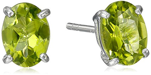 Earrings Stone Peridot (Sterling Silver Oval Peridot Earrings)