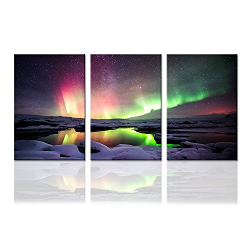 Hello Artwork - Purple Green Northern Lights Modern Canvas Print Amazing Aurora Borealis Landscape Wall Art Pictures For Home Decor Living Room Office Ready To -