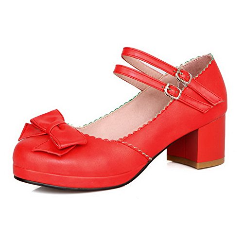 VogueZone009 Women's Round Closed Toe Kitten Heels Soft Material Solid Buckle Pumps-Shoes Red