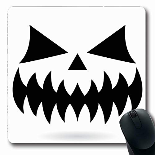 Ahawoso Mousepads Pumpkin Mouth Scary Face Holidays Eyes Ghost Horror Teeth 31St Cut Oblong Shape 7.9 x 9.5 Inches Non-Slip Gaming Mouse Pad Rubber Oblong Mat]()