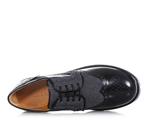 ARMANI - Schwarzer und blauer Halbschuh mit Schnürsenkeln, aus Glanzleder und Denim, Ausdruck des hochwertigen Made in Italy, Jungen