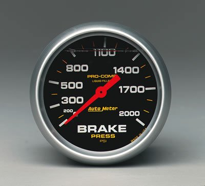 Auto Meter 5426 Pro-Comp; Liquid-Filled Mechanical Brake Pressure Gauge; 2 5/8 in.; 0 - 2000 psi; Incl. T-Fitting; 3/8 in. OD x 1/8 in. -27 NPT Fitting; Use Only Approved Brake Lines;