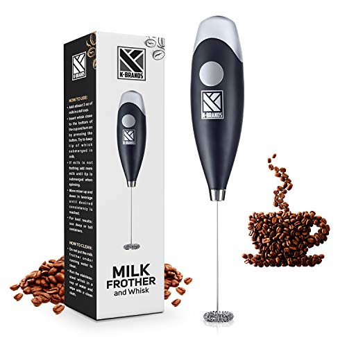 Milk Frother – Handheld Battery Operated Electric Foam Maker For Coffee, Latte, Cappuccino, Hot Chocolate With Stainless…