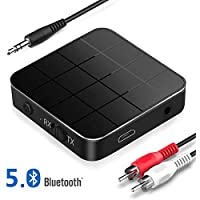 Bluetooth 5.0 Transmitter Receiver, 2 in 1 Wireless Bluetooth Adapter with Low Latency HD Sound, 3.5mm AUX RCA Bluetooth Audio Adapter for, TV Home, PC, Smartphone, Car