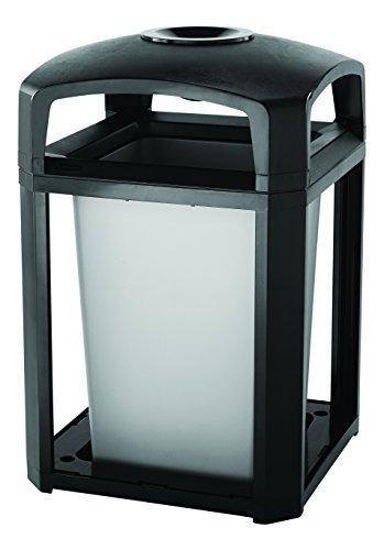 Rubbermaid Commercial Products Landmark Classic Container with Ashtray, 35 Gal (FG397001BLA)