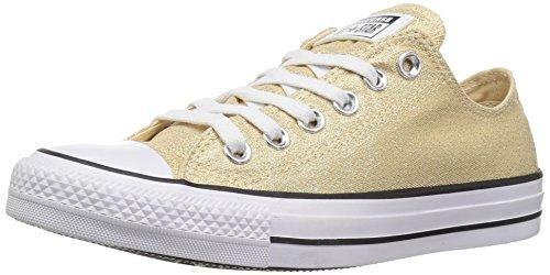 Converse Women's Chuck Taylor All Star Shiny Tile Low TOP Sneaker, Light Twine/White/Black, 10.5 M US