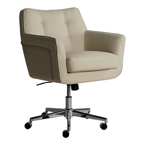 Serta Style Ashland Home Office Chair, Bonded Leather, Cream - Cream Leather Office Chair